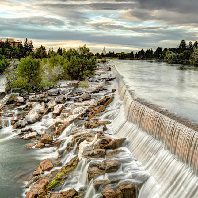The water falls in Idaho Falls.
